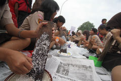 Jenang Festival Solo. Residents participating festival with porridge in Solo, Central Java, Indonesia. The festival presents a wide range of grain porridge to be Royalty Free Stock Photo