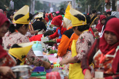Jenang Festival Solo. Residents participating festival with porridge in Solo, Central Java, Indonesia. The festival presents a wide range of grain porridge to be Royalty Free Stock Photos