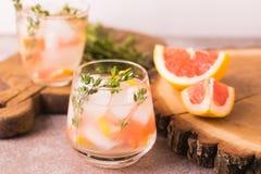 Jenever bittere citroen met thyme en grapefruit Fruitlimonade stock foto's