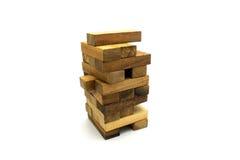 Jenga阻拦木比赛 免版税库存图片