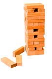 Jenga blocks tower - isolated Royalty Free Stock Images