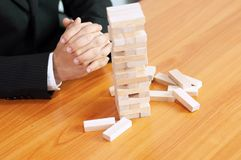 Jenga business game, business fulfillment Building a business base Failed business base Stable and unstable business base. royalty free stock photography