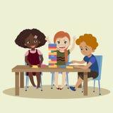 Jenga. Children play in wood block game jenga. Children play in wood block game colour jenga. Three kids in game. Vector illustration Flat cartoon style Stock Image