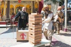 Jenga classic game during the Renaissance Pleasure Faire. Royalty Free Stock Photo