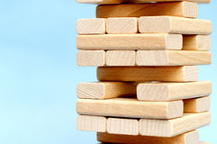 Jenga game. Detail of jenga blocks Stock Photo