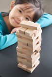 Jenga with kid Stock Photos