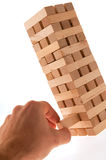 Jenga piece removed Stock Images