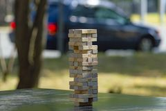 Free Jenga Tower In A Public Park In The City. Side View. Concept. Royalty Free Stock Photos - 165667958
