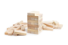 Jenga. Tower unfinished Stock Photo