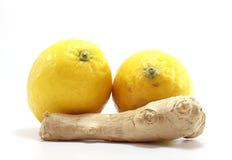 Jengibre con dos limones Fotos de archivo libres de regalías