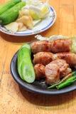 Jengibre de la salchicha y de la verdura, col, pepinos, ch Foto de archivo