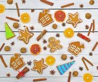 Jengibre del pan de jengibre, diverso sistema de los dulces Modelo de la Navidad Sea Fotos de archivo libres de regalías