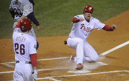 Jenkins. Geoff Jenkins slides home with the go ahead run in the sixth inning  of game 5 of the 2008 World Series Royalty Free Stock Images