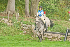 Jenna Conti on Balcarse Irish Cream. Jenna Conti riding Balcarse Irish Cream in the novice eventing test at Scotsburn on 6th October 2013 , a meeting of the Ross Stock Photography