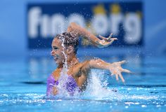 Jenna Randall of Great Britain. During a Solo Synchronised Swimming event of World Championship BCN2013 on July 24, 2013 in Barcelona Spain Royalty Free Stock Photos