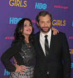 Jenni Konner and Judd Apatow. Girls Executive Producers Jenni Konner and Judd Apatow arrive on the red carpet for the New York premiere of the third season of royalty free stock images