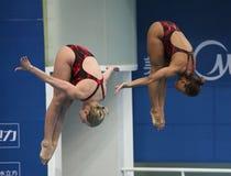 Jennifer Abel und Emilie Heymans von Kanada Stockfotos