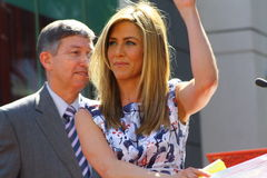 Jennifer Aniston(f). Jennifer is on stage at her Walk of Fame ceremony Stock Photography