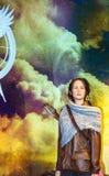 Jennifer Lawrence als Katnis Everdine in Mevrouw Tussauds-wasmuseum in Londen royalty-vrije stock foto