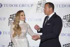 Jennifer Lopez and Alex Rodriguez. Actress, singer, dancer, and pop superstar Jennifer Lopez attends the 33rd Annual Great Sports Legends Dinner, at the New York stock photography