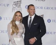 Jennifer Lopez en Alex Rodriguez stock foto