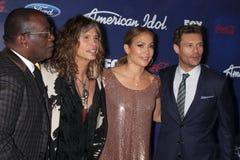 Jennifer Lopez, Jackson excité, Ryan Seacrest, Steven Tyler photographie stock libre de droits
