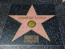 Jennifer Lopez`s Star, Hollywood Walk of Fame - August 11th, 2017 - Hollywood Boulevard, Los Angeles, California, CA royalty free stock images