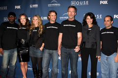 Jennifer Morrison, Olivia Wilde, Omar Epps, Lisa Edelstein, Hugh Laurie, Jesse Spencer, Peter Jacobson lizenzfreies stockfoto
