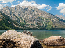 Jenny Lake and Tetons Stock Photo