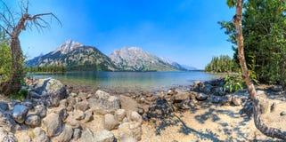 Jenny Lake Panorama, großartiger Nationalpark Teton lizenzfreies stockbild