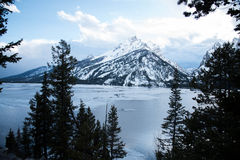 Jenny Lake. The scenery of Jenny Lake is partly covered with snow with pine forest and snowy mountains Royalty Free Stock Photography