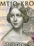 Jenny Lind portrait. From Swedish money Stock Image