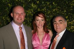 Jenny McShane with Mark Allen and Stephen Gold of Glagla Shoes at Global Green USA's 6th Annual Pre-Oscar Party. Avalon Hollywood,. Hollywood, CA. 02-19-09 Royalty Free Stock Photos