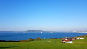 Jennycliff Bay and Plymouth Sound stock photography