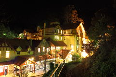 Jenolan Caves House at night. Illuminated Caves House of the historic village Jenolan Caves - a solitary place in the Blue Mountains National Park, Australia Stock Photography