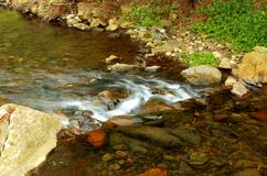 """Jenolan Stream. A clear crystal stream taken at medium shutter length to give a """"silky"""" flow to the water stock photo"""