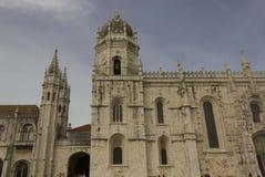 Jenonimos修道院外在门面在里斯本 库存照片