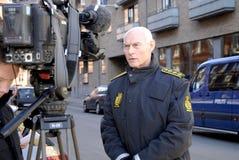 JENS HENRIK HOJBJERG_POLICE COMMISSIONER. COPENHAGEN/DENMARK. 26 February 2015 - Jens Henrik Hojbjerg (jens henrik H�jbjerg) police commissioner taking to royalty free stock photography