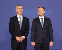Jens Stoltenberg and Andrzej Duda Royalty Free Stock Image