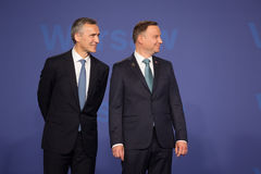 Jens Stoltenberg and Andrzej Duda Royalty Free Stock Images