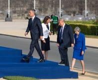 Jens Stoltenberg, Donald Trump en Teresa May Stock Fotografie