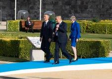 Jens Stoltenberg, Donald Trump en Teresa May Royalty-vrije Stock Afbeelding