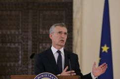 JENS STOLTENBERG. NATO Secretary-General Jens Stoltenberg pictured during press statements, after a meeting with Romanian President, at Cotroceni Palace, in stock photography