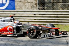 Jenson Button. MONZA, ITALY - SEPTEMBER 7: McLaren's driver Jenson Button takes to the tracks on practice day at the 2012 Santander Italian  o Grand-Prix on Stock Photo
