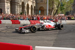Jenson Button in Boedapest stock afbeelding