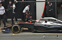 Jenson button. In the circuit of Catalonia Stock Image