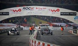 Jenson Button contre Michael Schumacher Photos libres de droits