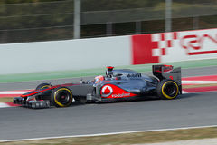 Jenson Button GBR McLaren MP4-27 - Test Barcelona Royalty-vrije Stock Foto's