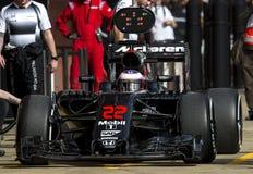 JENSON BUTTON (McLAREN HONDA) - F1 TEST. Jenson Button of McLaren Honda during Formula One test days 2016 at Circuit de Barcelona Catalunya on February 22, 2016 Stock Photos