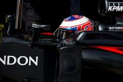 JENSON BUTTON (McLAREN HONDA) - F1 TEST. Jenson Button of McLaren Honda during Formula One test days 2016 at Circuit de Barcelona Catalunya on February 22, 2016 Stock Images